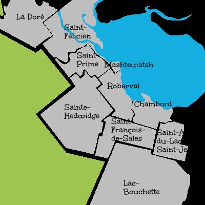 Carte de la MRC Domaine du roy, La Doré, Saint-Félicien, Saint-Prime, Mashteuiatsh, Roberval, Saint-Hedwidge, Saint-François-de-Sales, Lac-Bouchette, Saint-André-du-Lac-Saint-Jean, Chambord.
